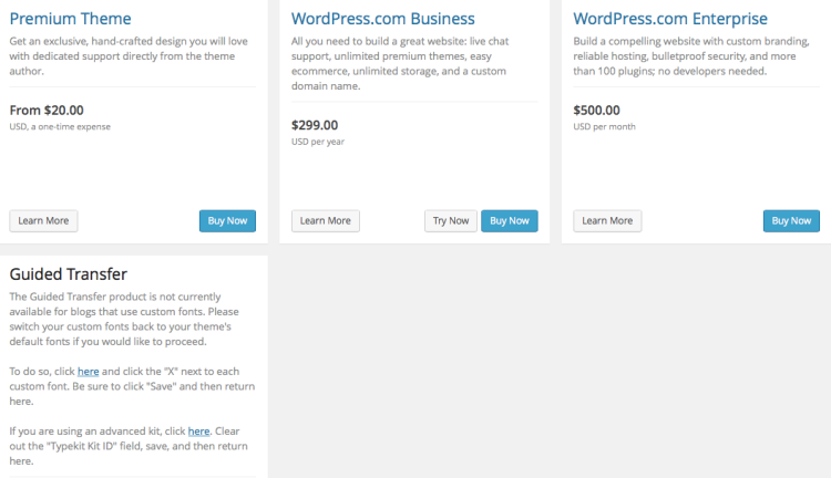 Other Feature Expenses on WordPress.com