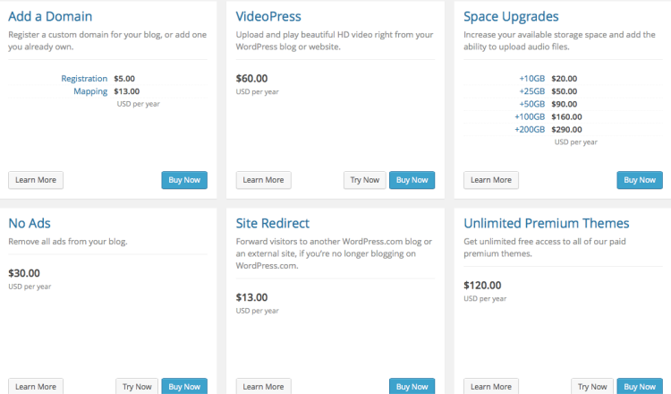 wordpress.com special features