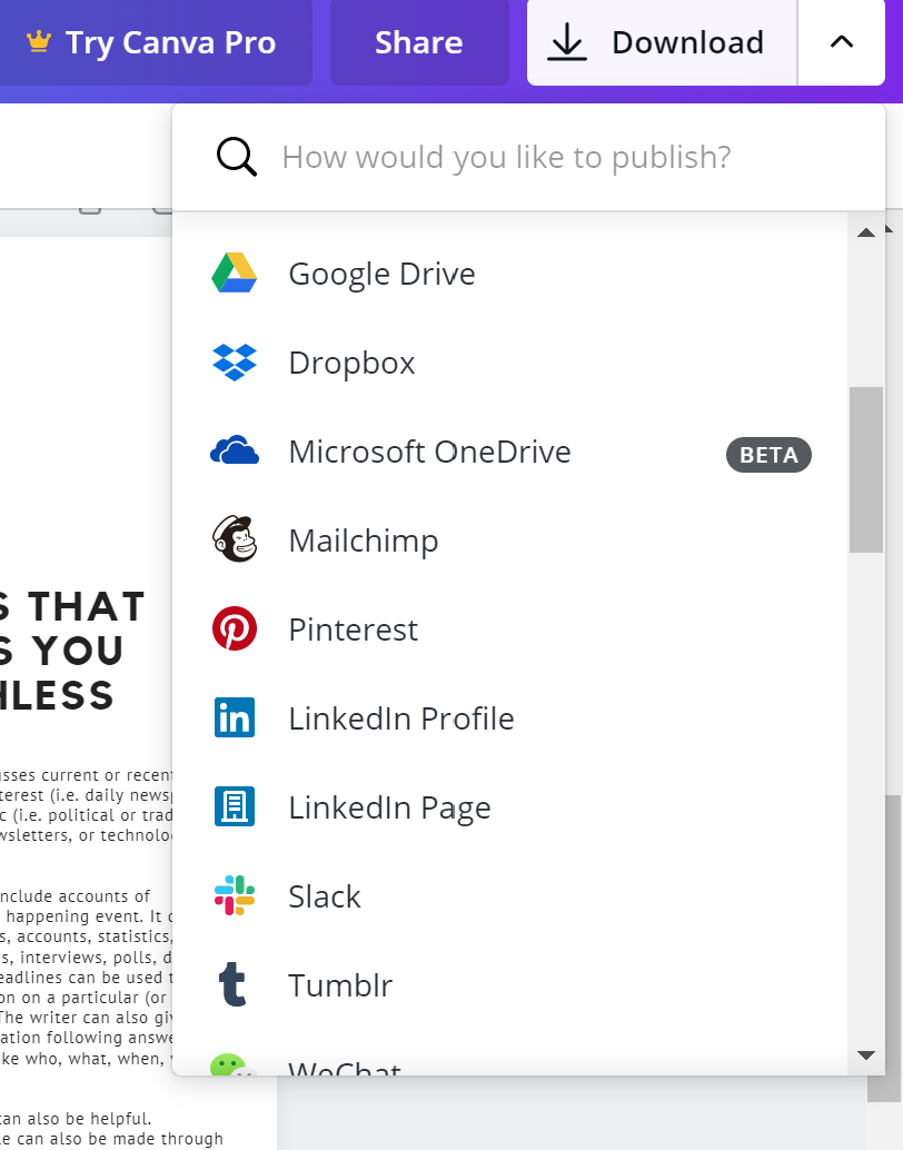 Download and publish options