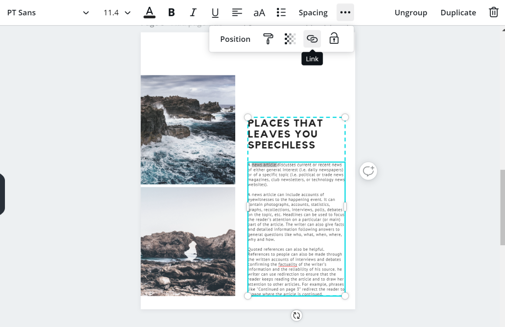 Linking text in Canva