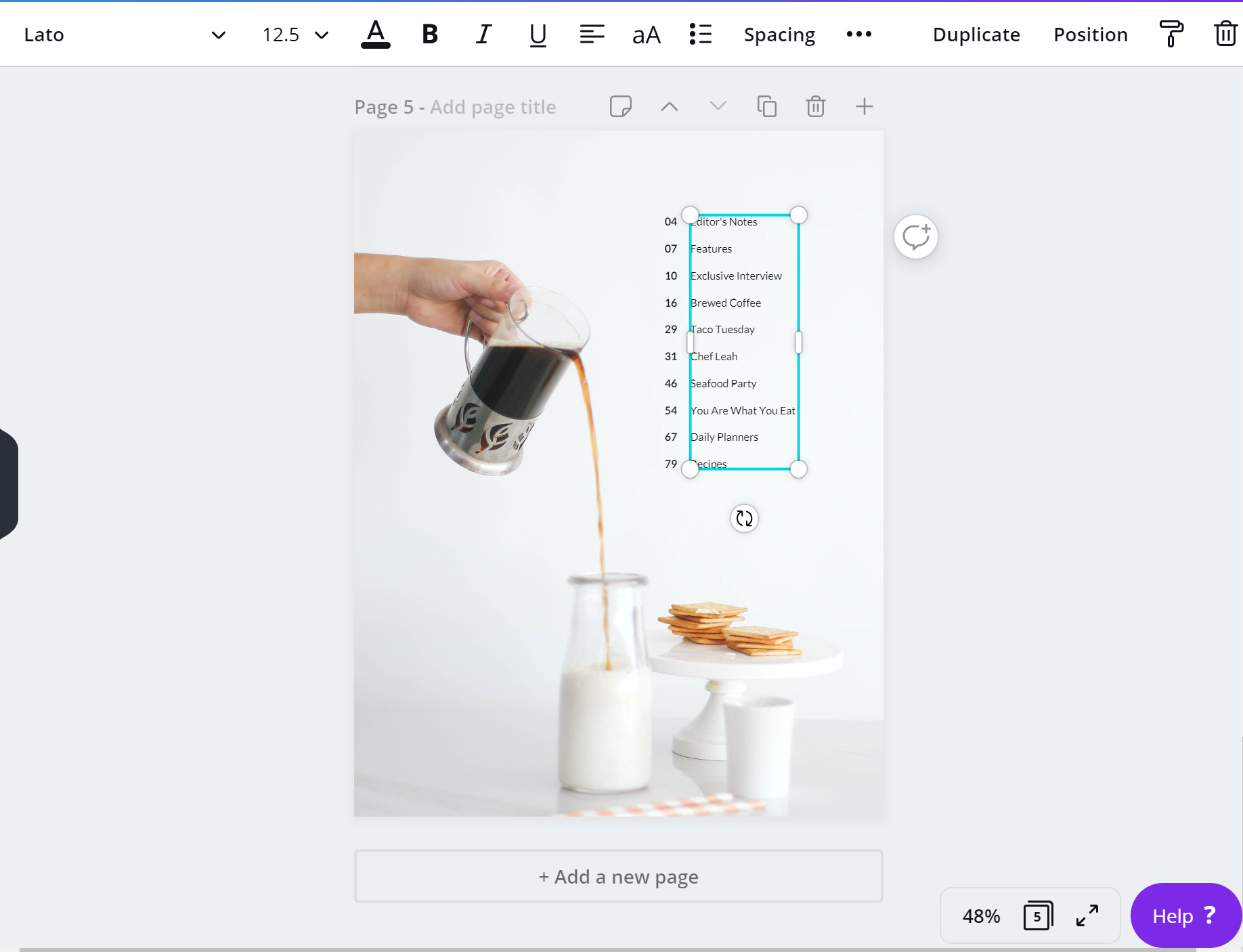 Table of Contents page in Canva